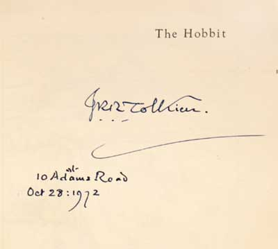 Tolkien dedication on first edition Hobbit