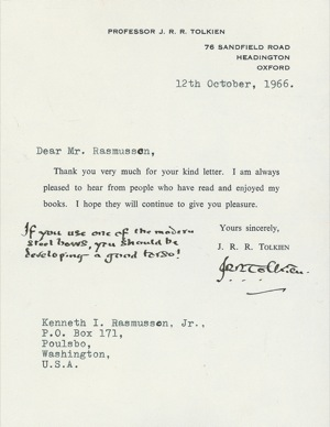 Signed letter from October 12th, 1966