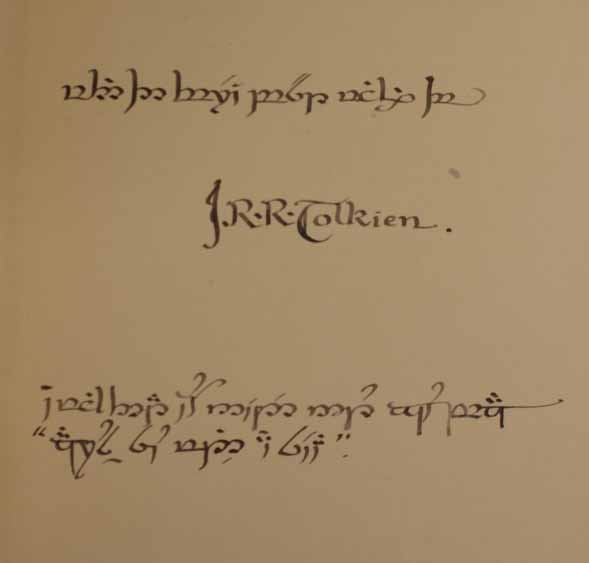 Lot 389 Tolkien Inscription