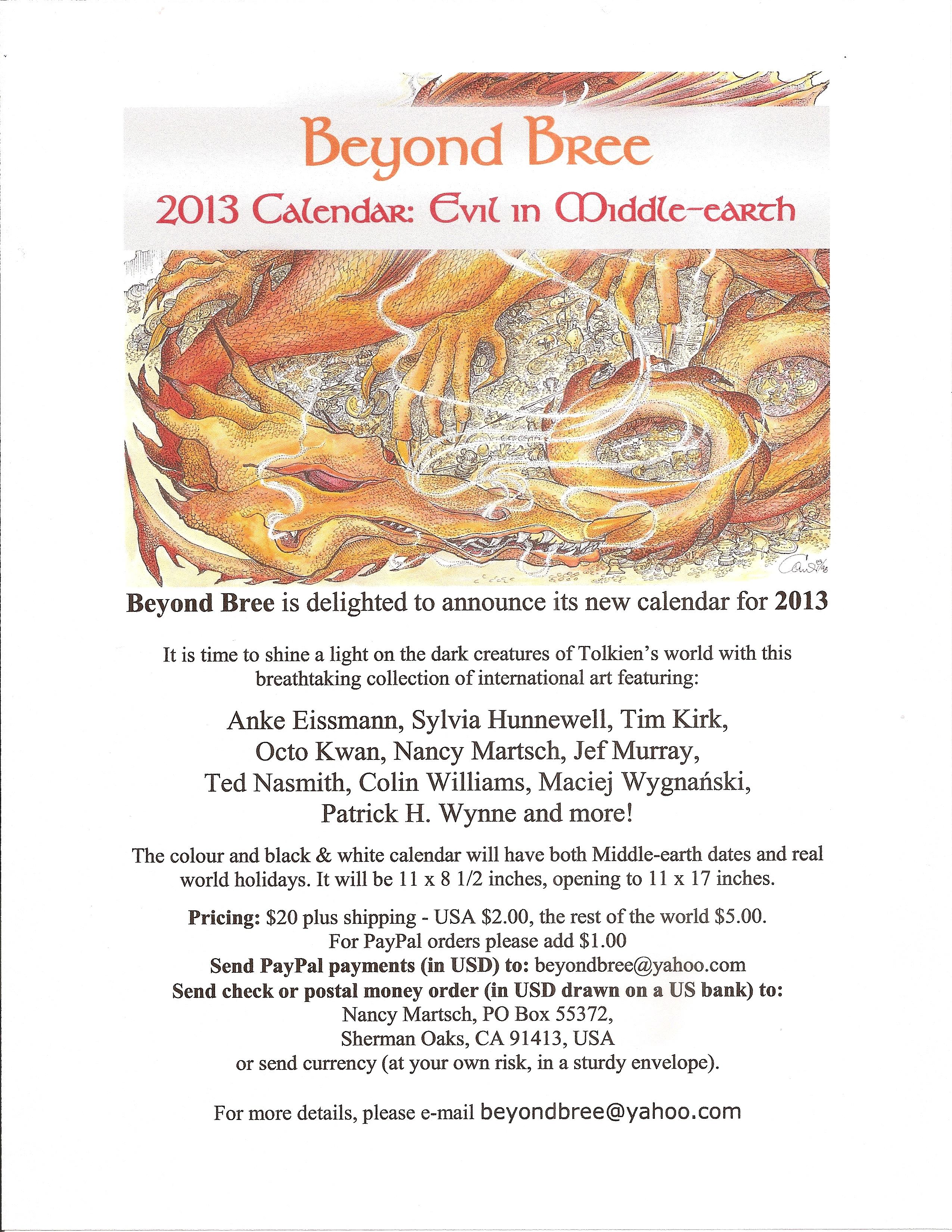 Beyond Bree 2013 Calendar