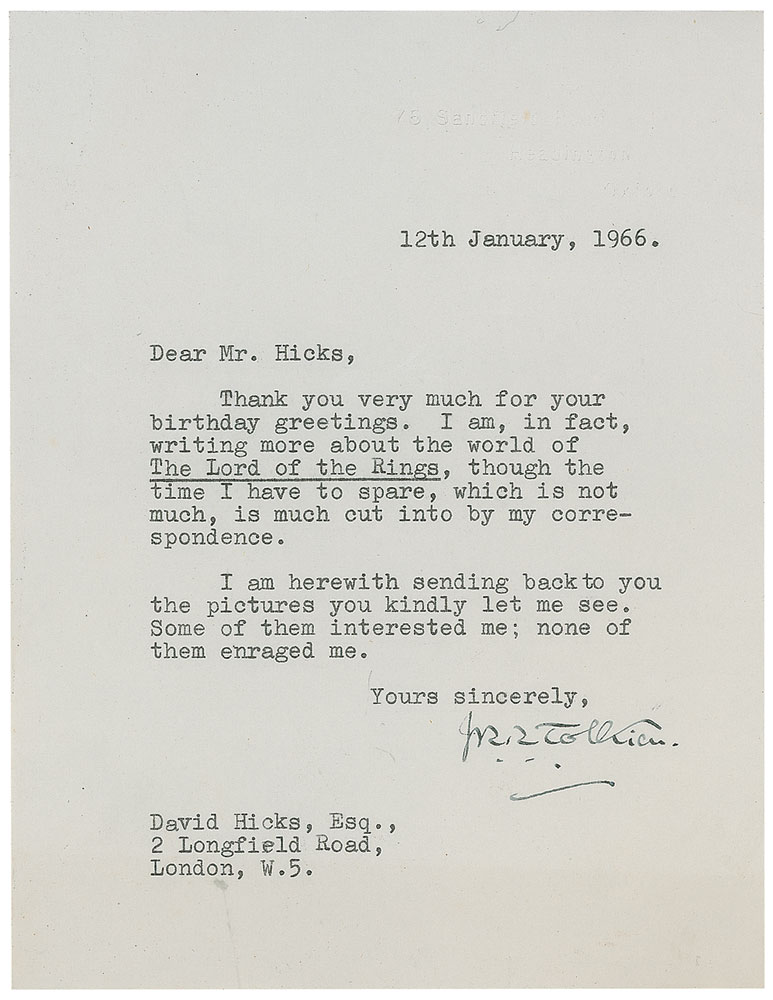 Tolkien Hicks signed letter 1966